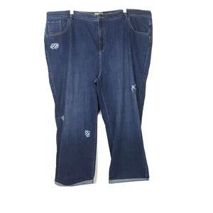 LOGO Lori Goldstein Boyfriend Distress Patch Jeans